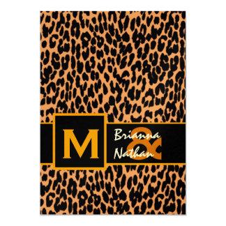 """Boda metálico superior del estampado leopardo invitación 5"""" x 7"""""""