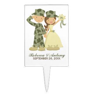 Boda militar del soldado y de la novia decoración de tarta
