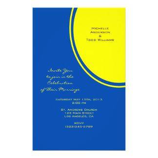 "Boda moderno amarillo azul brillante del círculo folleto 5.5"" x 8.5"""