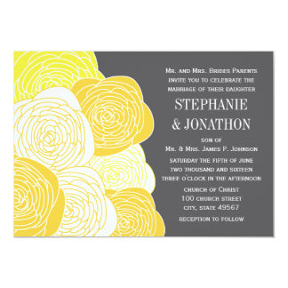Boda moderno amarillo y gris subió ranúnculo anuncio personalizado