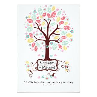 Boda moderno caprichoso del árbol de la flor del invitaciones personales