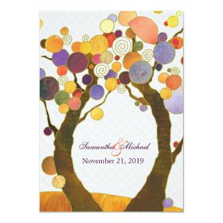 """Boda moderno colorido de los árboles de amor de la invitación 5"""" x 7"""""""