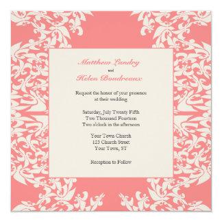 """Boda moderno de la flor de lis coralina invitación 5.25"""" x 5.25"""""""