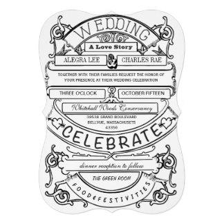 Boda moderno de la tipografía del vintage de la pi invitación personalizada