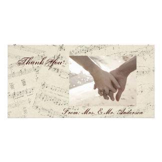 boda moderno de los musicnotes románticos del vint plantilla para tarjeta de foto
