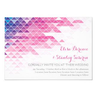 """Boda moderno de los triángulos geométricos rosados invitación 5"""" x 7"""""""