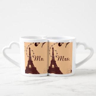 boda moderno de París del vintage de la torre Taza Para Parejas