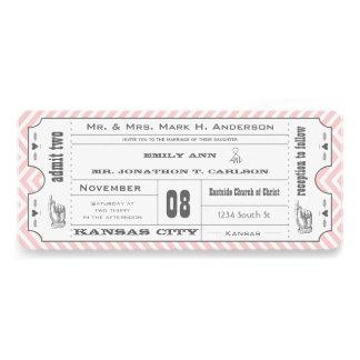 Boda moderno del boleto de Chevron del vintage ros Invitaciones Personalizada