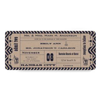 Boda moderno del boleto del vintage del zigzag de invitacion personalizada