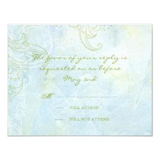 Boda moderno del remolino floral azul del girasol invitación 10,8 x 13,9 cm