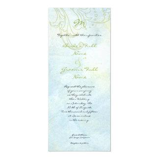 Boda moderno del remolino floral azul del girasol invitacion personalizada