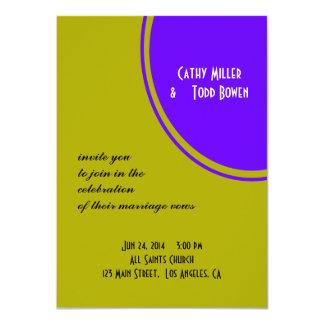 boda moderno púrpura chartreuse del círculo invitacion personalizada