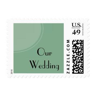 Boda moderno verde claro del círculo timbres postales