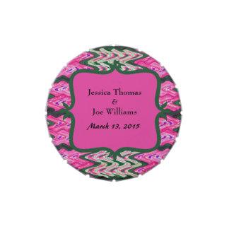Boda moderno verde rosado bonito frascos de caramelos