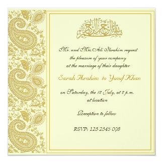 """Boda musulmán del oro invitación 5.25"""" x 5.25"""""""