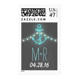 Boda náutico de la pizarra del ancla de la timbre postal