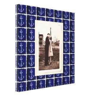 boda náutico del ancla rústica de los azules impresiones en lona estiradas