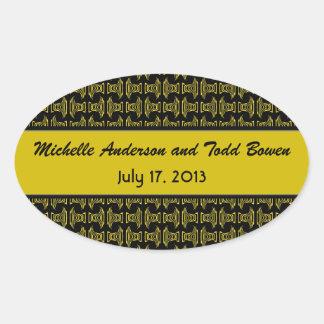 Boda negro amarillo del modelo pegatina ovalada