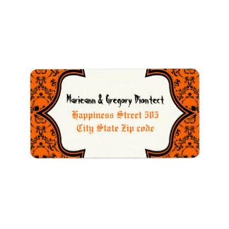 Boda negro anaranjado de Halloween del damasco de Etiquetas De Dirección