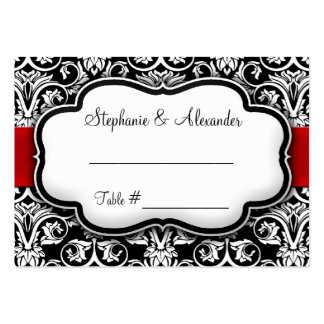 Boda negro blanco rojo del damasco de la cinta plantillas de tarjetas personales