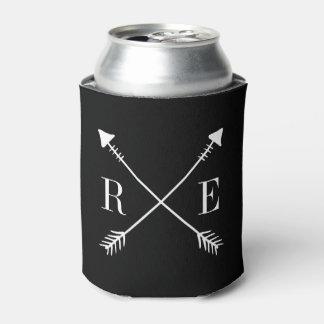 Boda negro de encargo del monograma de la flecha enfriador de latas