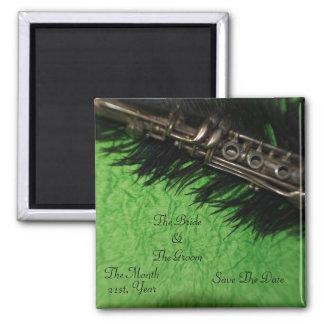 Boda negro de la pluma y del Clarinet de la avestr Imán Para Frigorifico