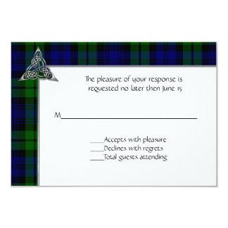 """Boda negro de la tela escocesa de tartán del reloj invitación 3.5"""" x 5"""""""