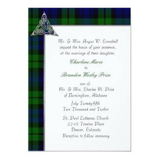 """Boda negro de la tela escocesa de tartán del reloj invitación 5"""" x 7"""""""