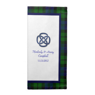 Boda negro de la tela escocesa de tartán del reloj servilletas