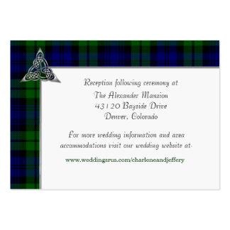 Boda negro de la tela escocesa de tartán del reloj tarjetas de visita grandes