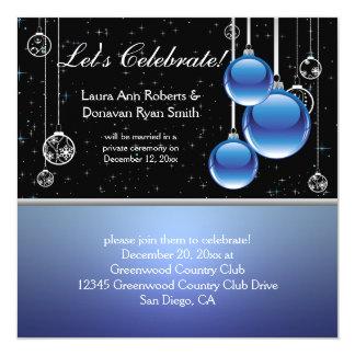 """Boda negro de plata azul del poste del navidad invitación 5.25"""" x 5.25"""""""