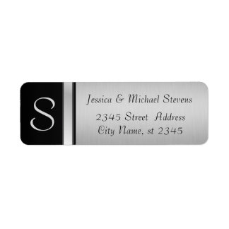 Boda negro de plata moderno elegante del monograma etiqueta de remitente