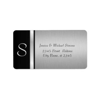 Boda negro de plata moderno elegante del monograma etiquetas de dirección