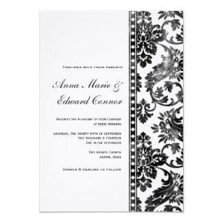 Boda negro del cordón del damasco del vintage invitacion personalizada