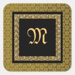 Boda negro elegante del damasco del oro pegatina cuadrada