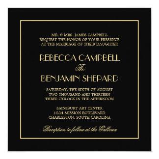 """Boda negro formal elegante elegante decadente de invitación 5.25"""" x 5.25"""""""