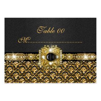 Boda negro número de la tabla del damasco del oro plantilla de tarjeta de negocio