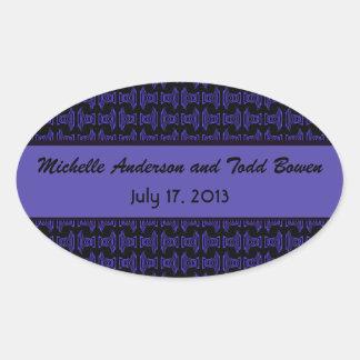 Boda negro púrpura del modelo pegatina ovalada