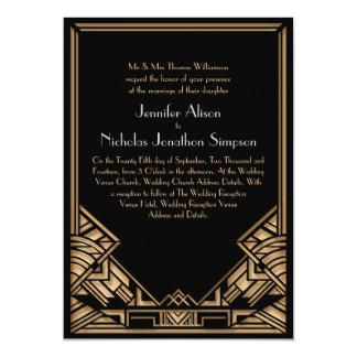 Boda negro y falso del estilo de Gatsby del art Invitacion Personal