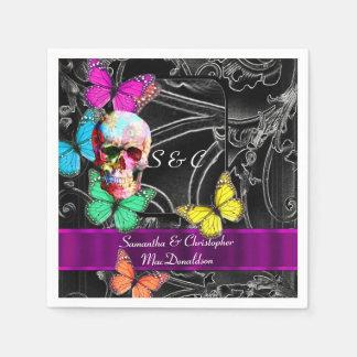 Boda negro y gótico del cráneo del azúcar servilleta de papel