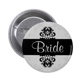 Boda negro y gris de la novia del damasco del pin redondo de 2 pulgadas