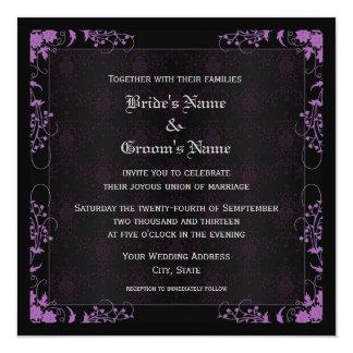 """Boda negro y púrpura floral elegante del damasco invitación 5.25"""" x 5.25"""""""