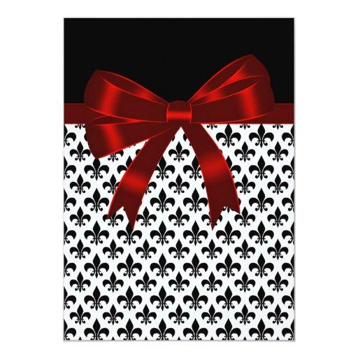 """Boda negro y rojo de la flor de lis invitación 5"""" x 7"""""""