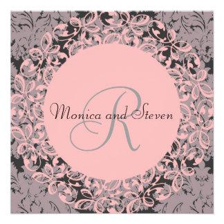 Boda negro y rosado del vintage comunicados personalizados
