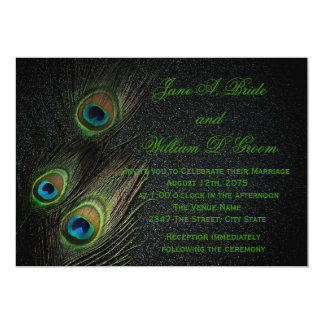 """Boda negro y verde elegante del pavo real invitación 5"""" x 7"""""""