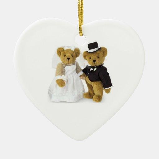 Boda nuestro primer ornamento del navidad adorno navideño de cerámica en forma de corazón