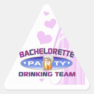 boda nupcial de consumición del fiesta del equipo pegatina triangular