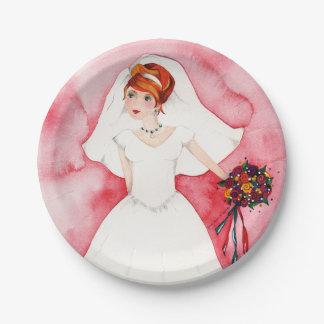Boda nupcial rosado del fiesta de compromiso de la plato de papel de 7 pulgadas