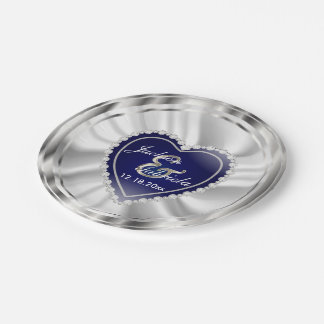 Boda o aniversario de plata y azul marino platos de papel