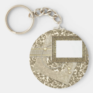 Boda o aniversario del oro con el marco de la foto llaveros